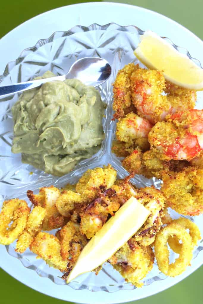 crispy baked calamari & prawns with avocado salsa