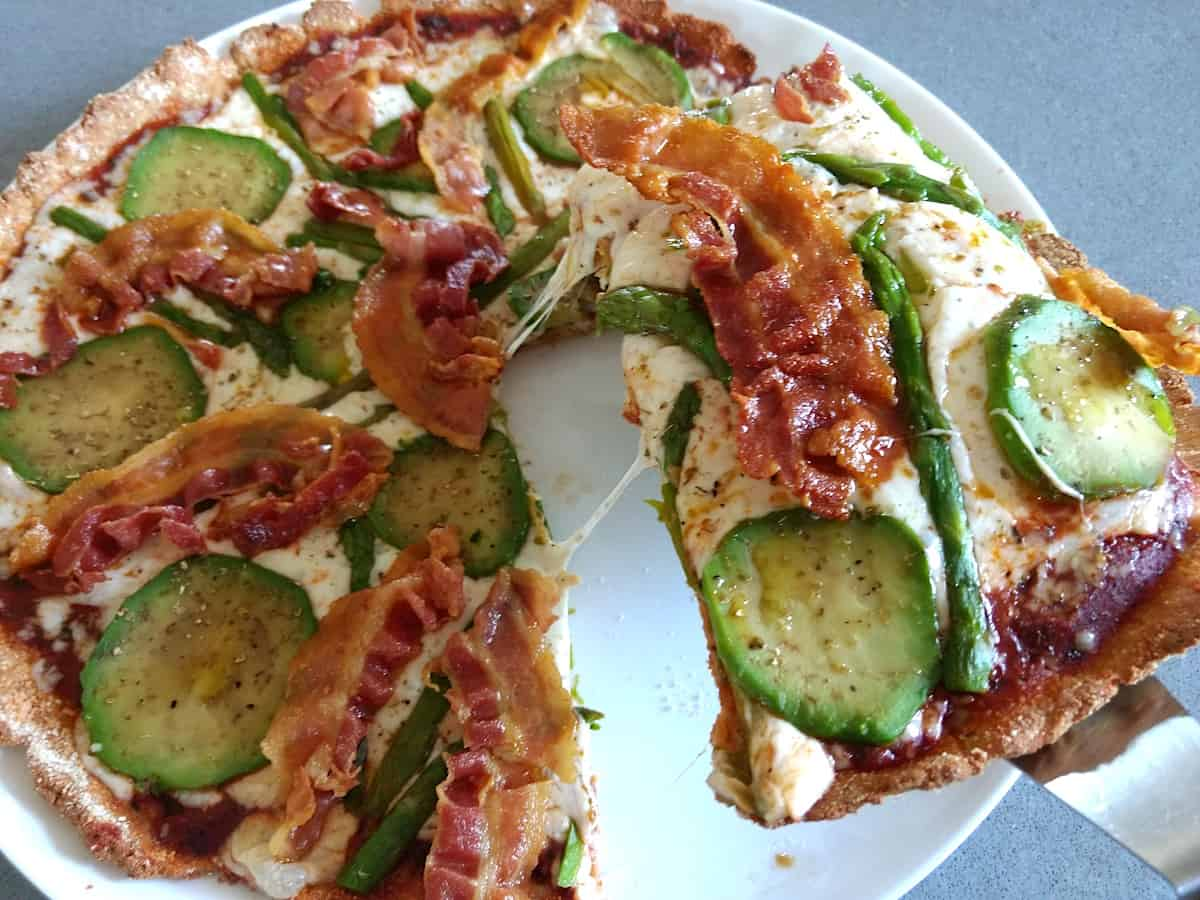 Bacon Avocado & Asparagus Keto High Fibre Pizza